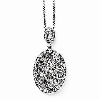 925 Pave de plata esterlina Rhodium plateado langosta garra cierre y CZ Circonión cúbica simulada diamante elegante pulido óvalo