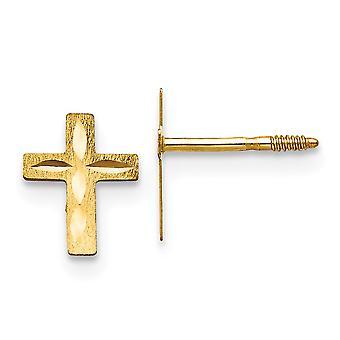 14k Gelb Gold poliert funkeln-Cut Kreuz für Jungen oder Mädchen Ohrringe - Maßnahmen 8x5mm