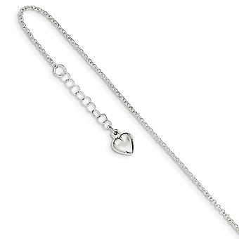 925 Sterling Silver Fancy Lobster Closure Polished Love Heart With 1inch Ext. Anklet 9 Inch Jewelry Gifts for Women