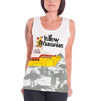 The Beatles Womens Tank Top White Yellow Submarine band logo Official