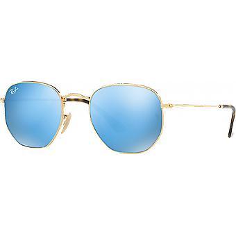 Ray-Ban Hexagonal Flat Lenses Golden Blue Miroité