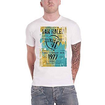 Van Halen T Shirt Pasadena 77 Concert Poster Band Logo new Official Mens White
