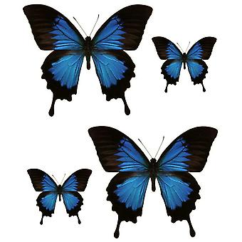 Set 4X Autocollant Sticker Voiture Moto Macbook Deco Papillon Bleu Noir Frigo