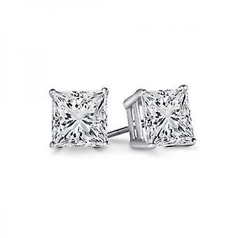 Dazzlingrock Collection IGI CERTIFIED 0.50 Carat (ctw) 14K Princess Cut Diamond Ladies Solitaire Stud Earrings 1/2 CT, White Gold