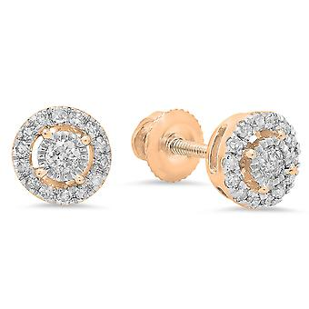 Dazzlingrock Collection 0.20 Carat (ctw) 10K Round White Diamond Ladies Cluster Style Stud Earrings 1/5 CT, Rose Gold