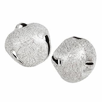 2 Frosted Silver 30mm Jingle Bells for Crafts