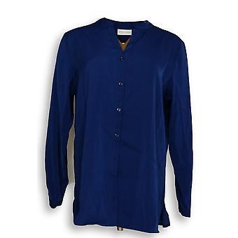 Susan Graver Femmes apos;s Top Stretch Peachskin LS Button Blue A277283
