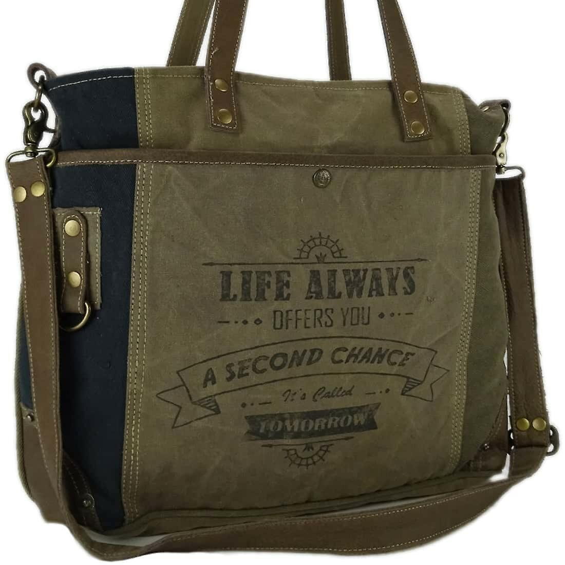 Myra Bag Canvas Schoudertas met Leer Roselyn
