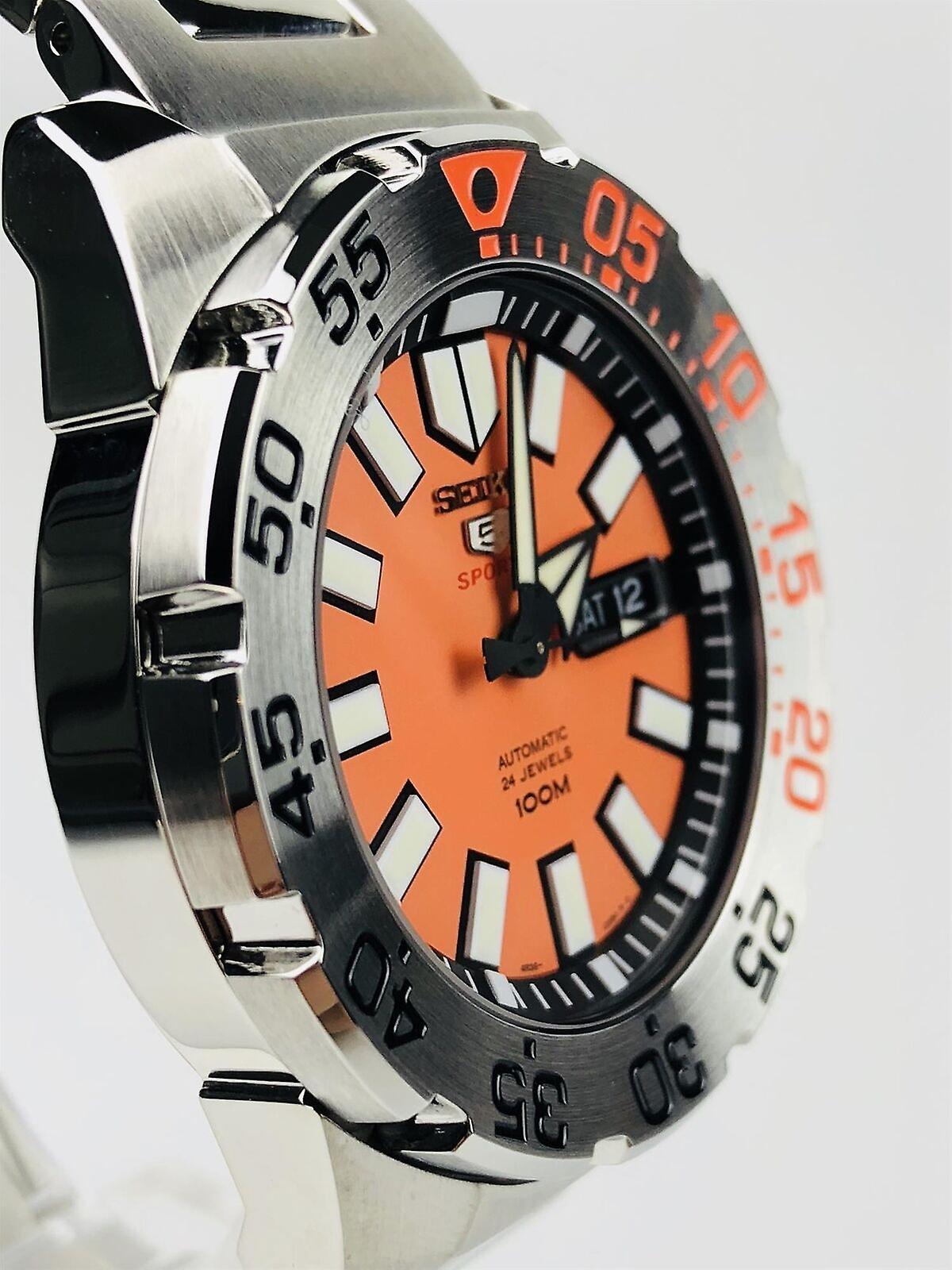 Seiko 5 Sports Diver Baby Orange Monster Silver Stainless Steel Orange Dial Men Watch