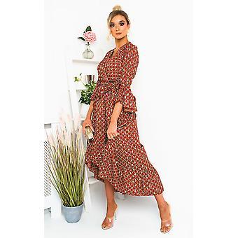 IKRUSH Womens Nelly Printed Frill Maxi Dress
