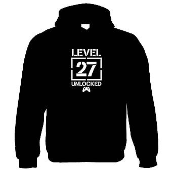Level 27 Unlocked Video Game Birthday Hoodie | Age Related Year Birthday Novelty Gift Present | 60s 70s 80s 90s Dad Grandad Son Mum Daughter | Gaming Gift Him Her Birthday