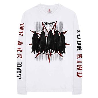 Slipknot T Shirt Shrouded Group Band Logo new Official White Long Sleeve Unisex