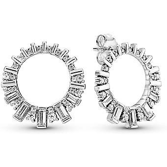 Pandora Eiswürfel Ohrringe in Sterling Silber mit 10 Bar-Set Baguette-schnitt und 48 Kralle-Set klar Kubische Zirkonia