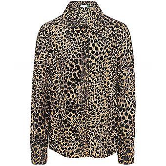 RIXO Andrea Silk Blend Leopard Print Shirt