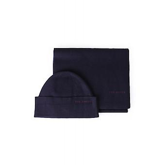 Ted Baker Mens Bribox Branded Hat And Scarf Set