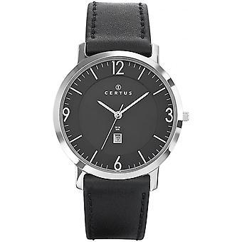 Certus 610947 relógio - watch data de homem preto de couro