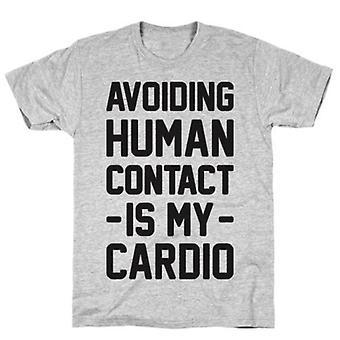 Menselijk contact vermijden grijs t-shirt