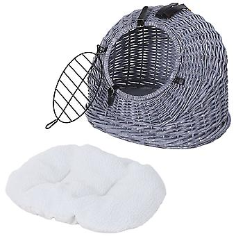Semi-Round Wicker Cat Basket w/ Wire Gate Buckle Fastenings Plush Pillow Handle Easy Carry Portable Bed Cage Vets Travels Stylish Elegant Grey
