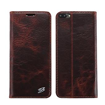 Pour iPhone 8 PLUS,7 PLUS Wallet Case,FS Genuine Cow Leather Cover,Brown