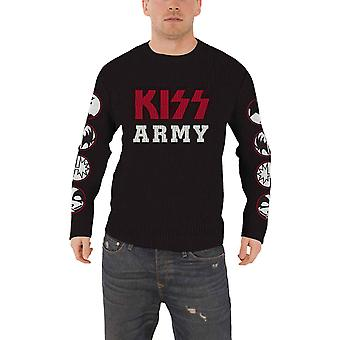 Kiss Jumper Sweater Kiss Army band logo and icons new Official Mens Black