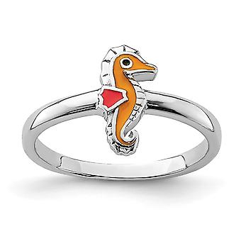 925 Sterling Silver Rhodium plated for boys or girls Enameled Seahorse Ring - Ring Size: 3 to 4