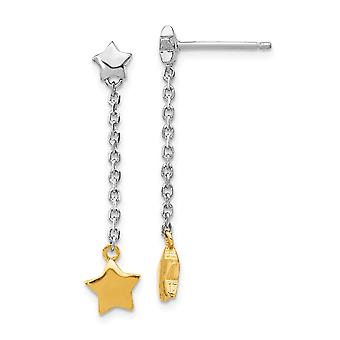 925 Sterling Silver Rhodium plated and Gold Flashed Star Dangle Post Earrings Jewelry Gifts for Women