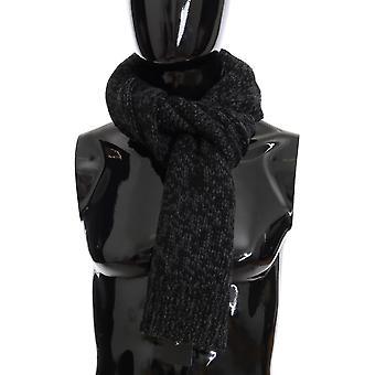 Dolce & Gabbana Black Gray Cashmere Woven Scarf