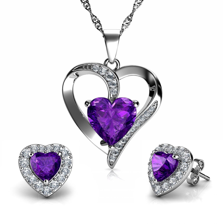 Dephini purple heart necklace & heart earrings purple jewellery set