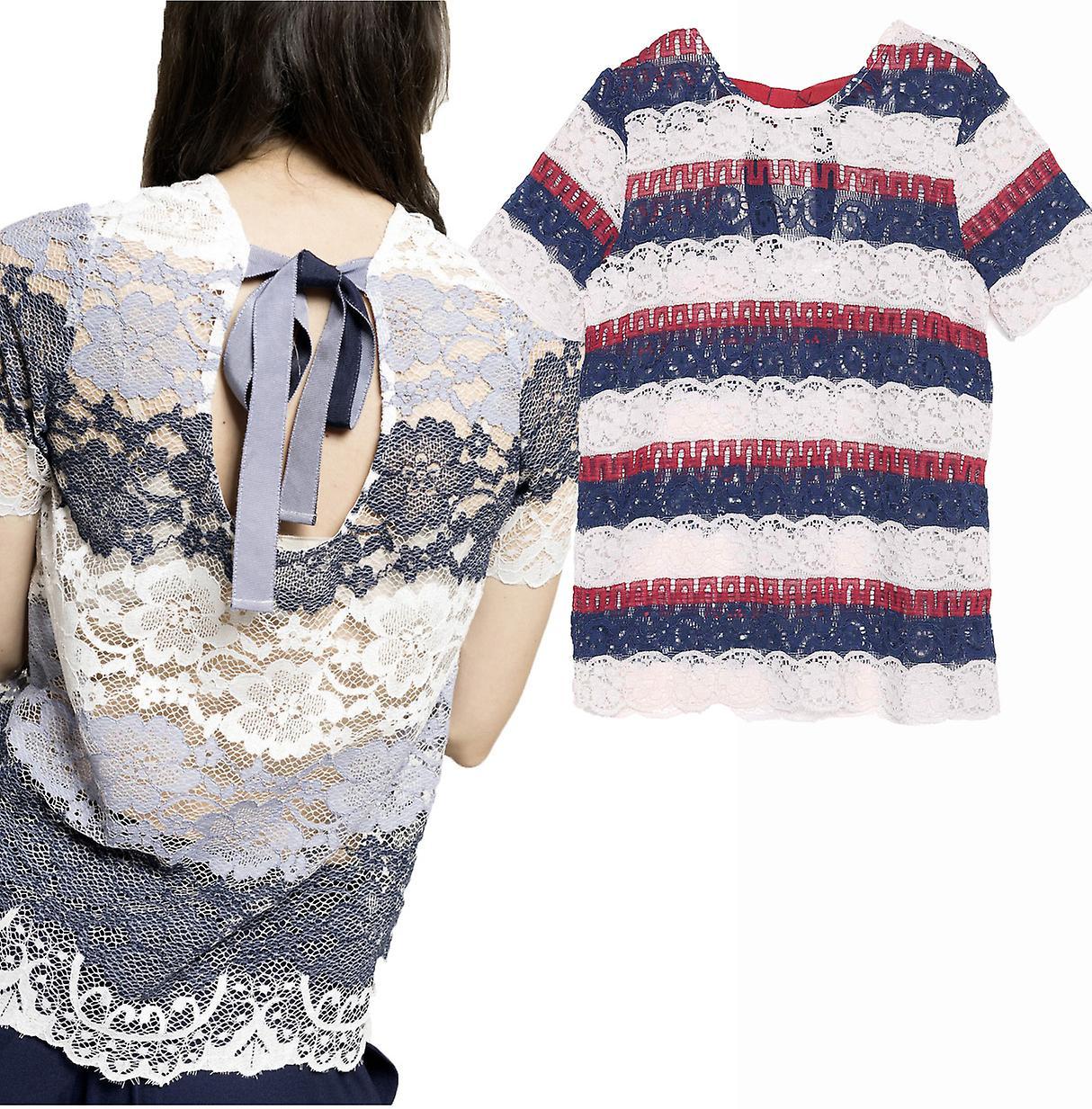 Grace And Mila Women's Mandarin Lace Pretty Cutaway Back