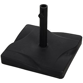 Outsunny Patio Outdoor Garden 20kg Square Cement Parasol Base Umbrella Weight Stand Holder  Fits Φ30mm,Φ35mm,Φ38mm Pole - Black