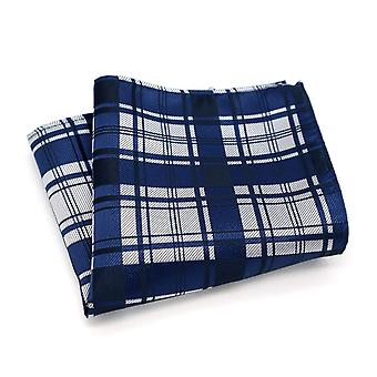Navy blue silver & white tartan stripe pocket square