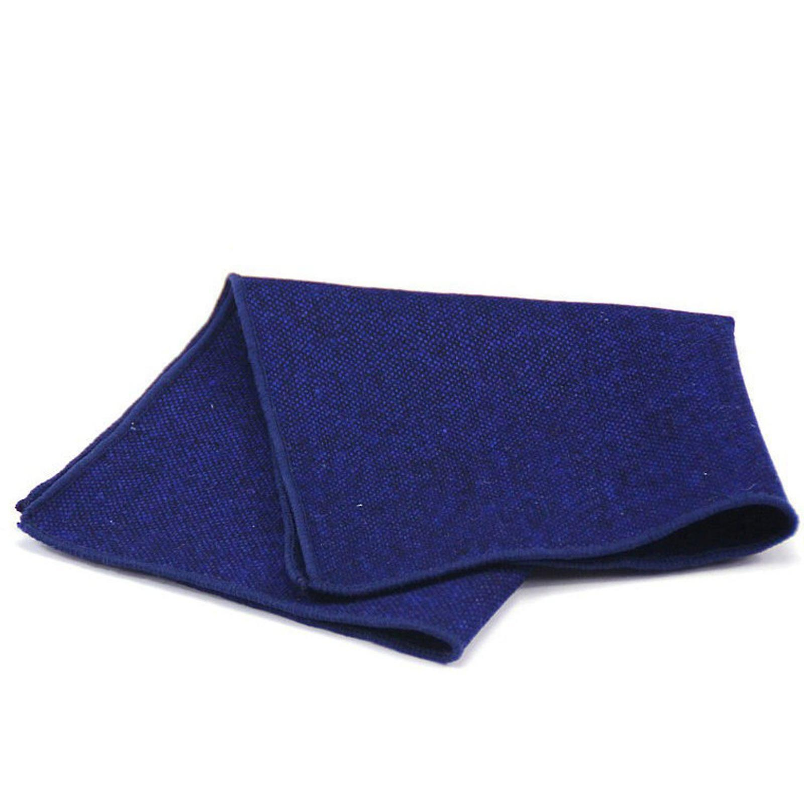 Blue thick tweed rugged look men's wool pocket square