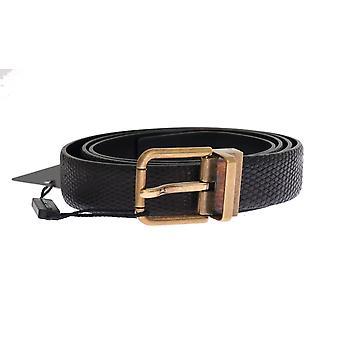 Dolce & Gabbana Black Lizard Leather Gold Buckle Riem
