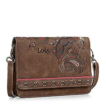 Lois - Women's shoulder bag. Zip and draw closing. Convertable to Fanny Pack. Ideal for everyday. synthetic skin. Paisley embroidery. 302635 Color Brown