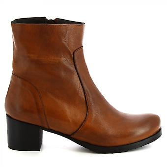 Leonardo Shoes Women's handmade heels ankle boots brown calf leather side zip