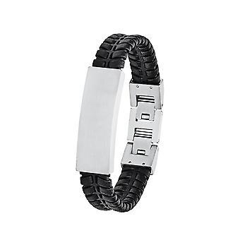 s.Oliver Jewel Mäns armband Identband rostfritt stål Läder svart 2027442