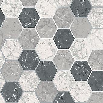 Metro Hex Geo Marble Wallpaper Charcoal Crown M1508