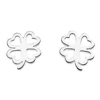 Dew Sterling Silver Four Leaf Clover Stud Earrings 4470HP