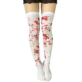 Womens Opaque Zombie Bloody Thigh High Costume Stockings