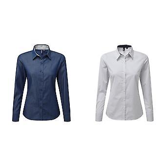 Premier Damen/Damen Langarm Denim-Pindot Shirt