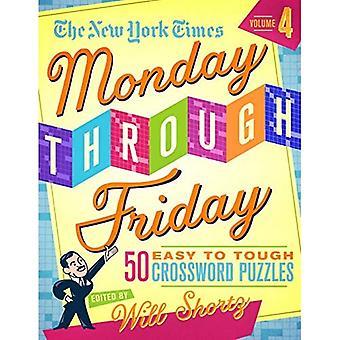 El nuevo York Times de lunes a viernes fácil a duras crucigramas volumen 4:50 puzzles de las páginas del New York Times