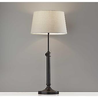 Sæt med 2 bordlampe med justerbar højde i sort metal