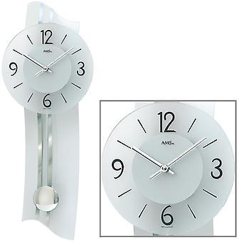 AMS 7239 Wall clock Quartz with pendulum silver modern curved pendulum clock with glass