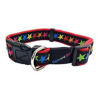 Hemm & Boo Multicoloured Stars Dog Collar - Large