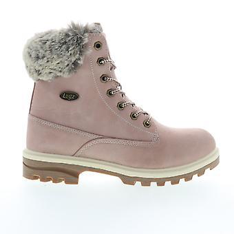 Lugz Empire Hi Fur  Mens Pink Leather Low Top Lace Up Boots Shoes