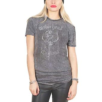 Motorhead T Shirt England new Official Womens Charcoal Grey Burn Out