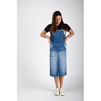 The #2002 womens pinafore overall washed