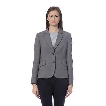 Grey Two Button Single Breasted Blazer