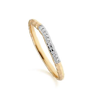 Diamant-Pave gehämmert Band Ring in 9ct Gelbgold 191R0910019
