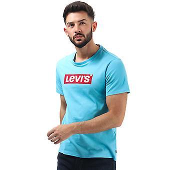 Menn&aapos;s Levis Grafisk Boks Tab Logo T-skjorte i Turkis